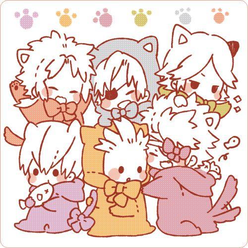 Mori Motonari, Date Masamune, Sanada Yukimura, Chosokabe Motochika, Tokugawa Ieyasu, Ishida Mitsunari, Sengoku Basara. Art by: ゆう (Pixiv ID: 439106).