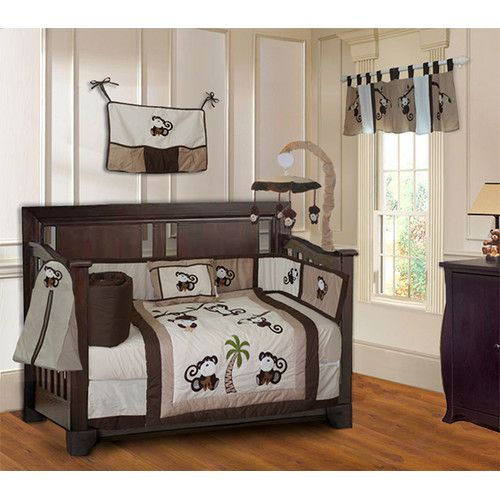 Babyfad Monkey Neutral Unisex Boys Baby 10 Piece Crib Bedding Set