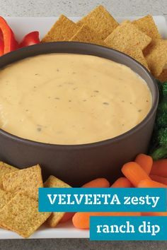 VELVEETA Zesty Ranch Dip – RO*TEL, sour cream, and ranch dressing add tangy flavor to this hot cheesy dip. Plus, this appetizer recipe is ready in just 15 minutes.