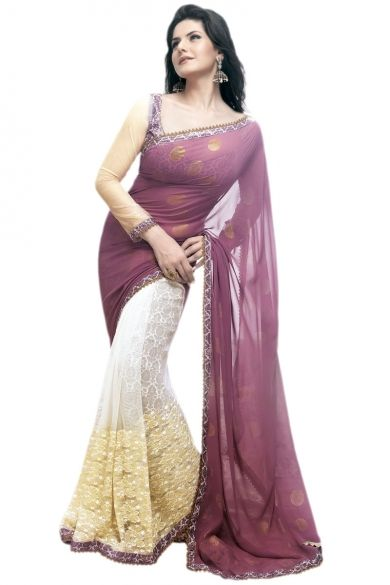 Lilac Violet and Off-white Faux Georgette and Net Embroidered Saree Sku Code:10-2889SA673167 $ 55.00