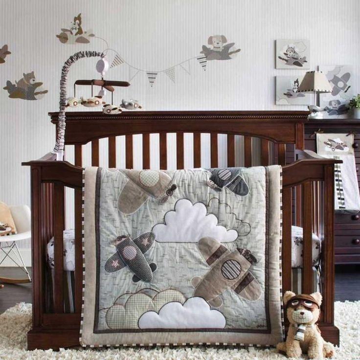Airplanes Flying Infant Baby Boys Aviation Nursery 4 Pc Infant Crib Bedding Set in Baby | eBay
