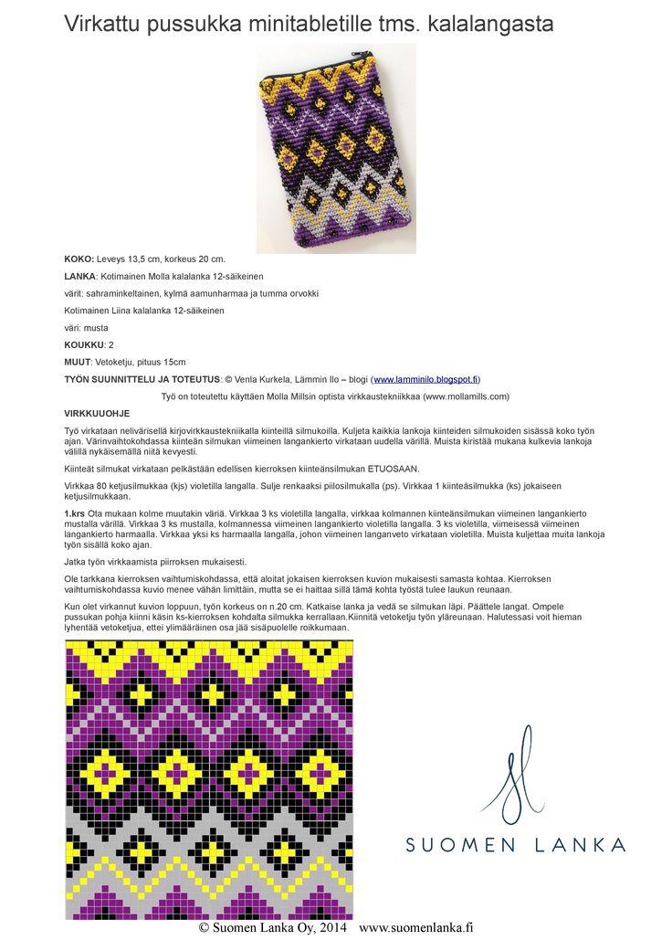 pochette à tablette au crochet avec fil de coton Molla de Suomen Lanka
