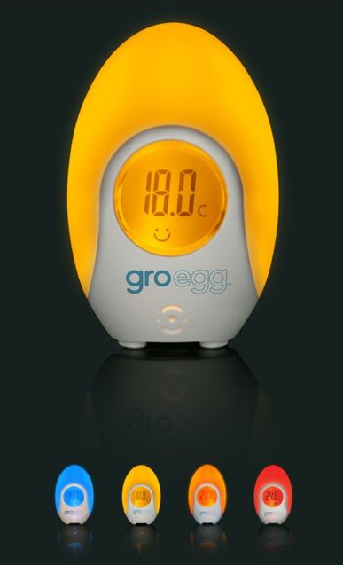 Groegg baby nursery thermometer changes colors to let you know if the room is too cold, too warm or just right. Plus, it's soft glow will provide a night light effect for your baby's room. £21.99 = $35.34 I neeeeed!!!!