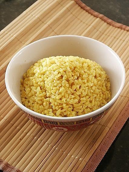 Rice Version #2 - 1 Clove Garlic, 1 Cup Short Grain Brown Rice, 2 Cups Water, 1/4 Teaspoon Turmeric, 1/4 Teaspoon Cayenne Pepper, 1/2 Teaspoon Sea Salt