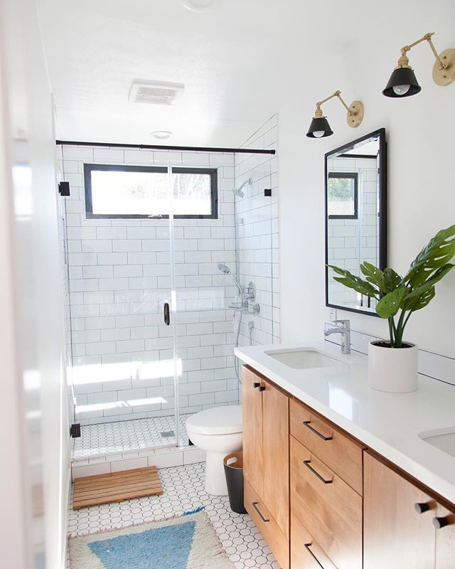 White Bathroom Remodel With Natural Wood Floating Vanity Colorful Rug White Subway Tile And Recessed M Wood Vanity Bathroom Transformation Bathrooms Remodel