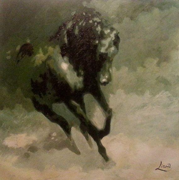 Original Oil Painting - 39 x 39 Wild Horse Running - Black ...