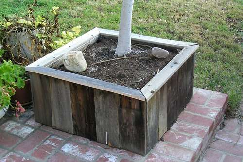 reuse old fence boards - planters, router table and gardening table
