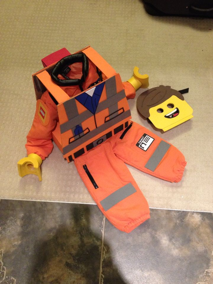 Lego Emmet Halloween costume made from color foam sheets and cardboard
