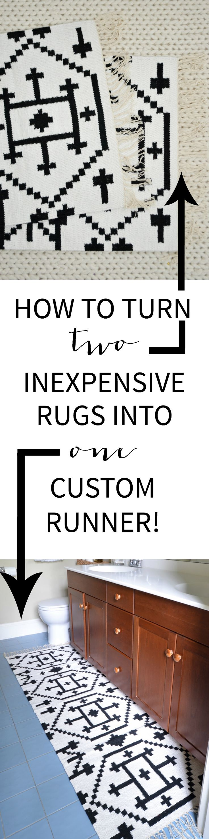 Super simple tutorial showing you how to sew two small rugs together so you can customize the size or just save some money while decorating!