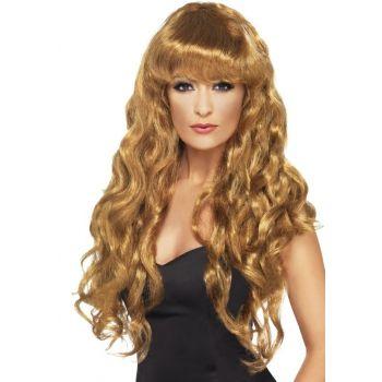 Damespruik met bruin haar  Bruine damespruik met gekruld lang haar. In deze pruikenwinkel vindt u een enorme collectie bruine damespruiken in alle soorten modellen.  EUR 14.95  Meer informatie