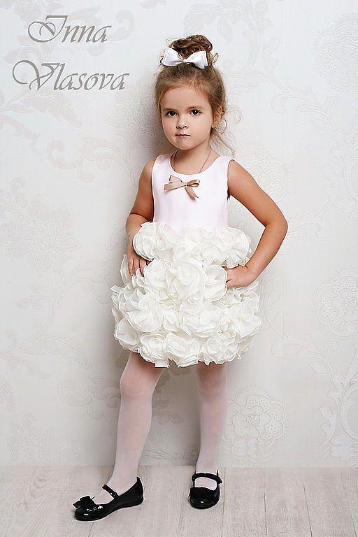 Handmade dress for girl / Клубничное мороженое нарядное платье - capelli bambini, flower girl dress