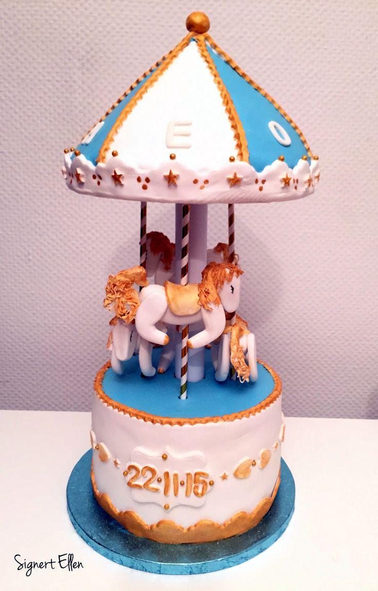 Carousell cake, Christening cake / karusellkake, dåpskake - Signert Ellen