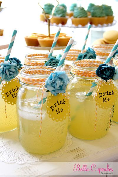 Bella Cupcakes: Surprises!! Baby shower - High tea style. Love the twine and  flowers on the mason jars!