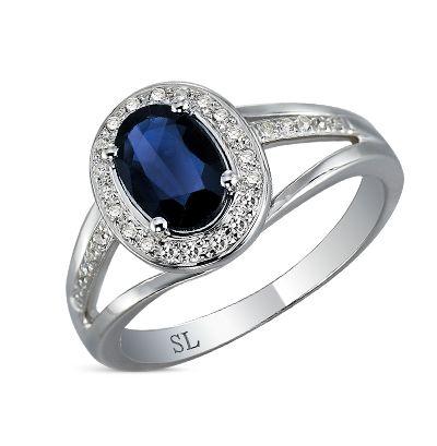 Золотое кольцо с бриллиантами и сапфирами купить , белое золото 585 пробы, сапфир, 30 бриллиантов. Смотреть фото и описание 1110 - Sunlight Brilliant