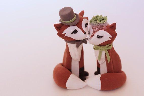 Redish Fox Wedding Cake Topper