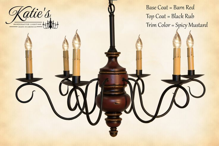 Queen Anne Chandelier by Katie's Handcrafted Lighting Finished In Barn Red Black Rub With Spicy Mustard Trim