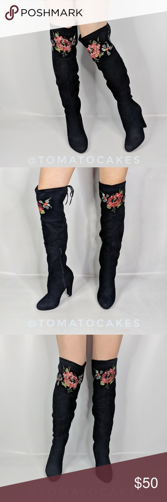 zigisoho Bryna embroidered over the knee boot NEW zigisoho Bryna floral embroidered over the knee black boots. Inside zip closure. Fabric upper. Manmade sole. Zigi Soho Shoes Over the Knee Boots