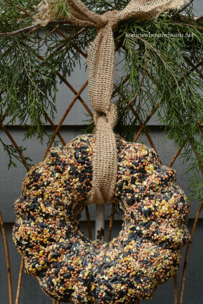 Bird Seed Wreath Feeder DIY | Home is Where the Boat Is