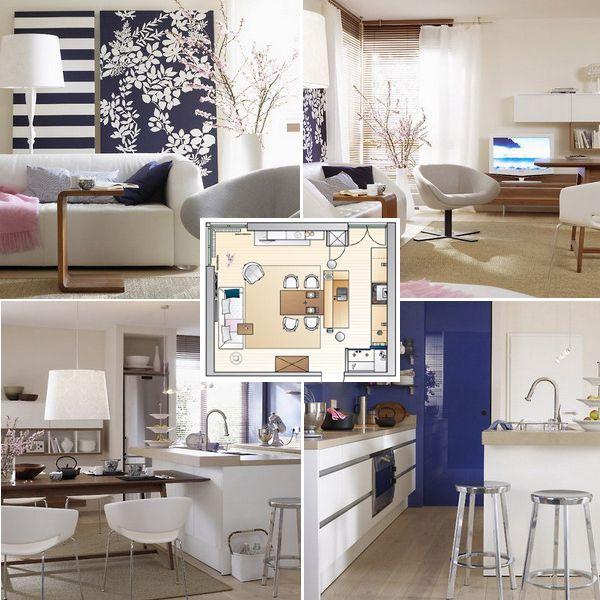 подробная история объединения гостиной и кухни, чтобы появилась столовая, площадь комнаты 24 кв.м, идея для интерьера от немецкого дизайнер, смотрите фото и план