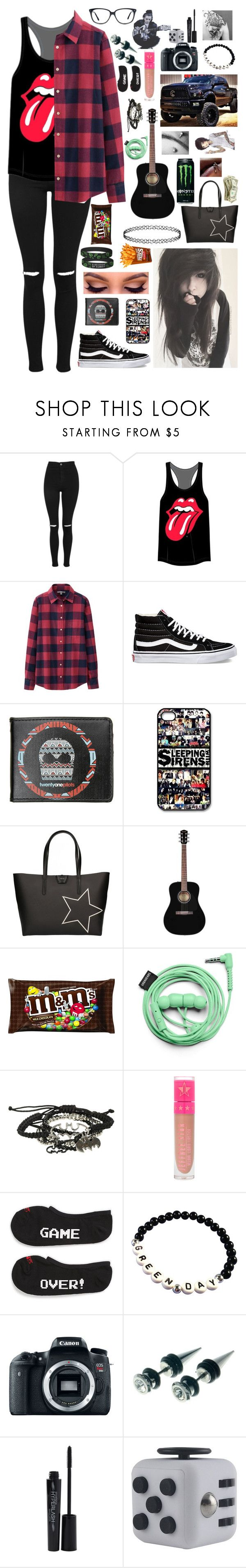 """""""I'm watching kids do a shrek play at my grandma's school..... fun"""" by xxghostlygracexx ❤ liked on Polyvore featuring Topshop, Uniqlo, Vans, Gum by Gianni Chiarini, Sykes, Urbanears, Eos, Disney, Smashbox and Ace"""