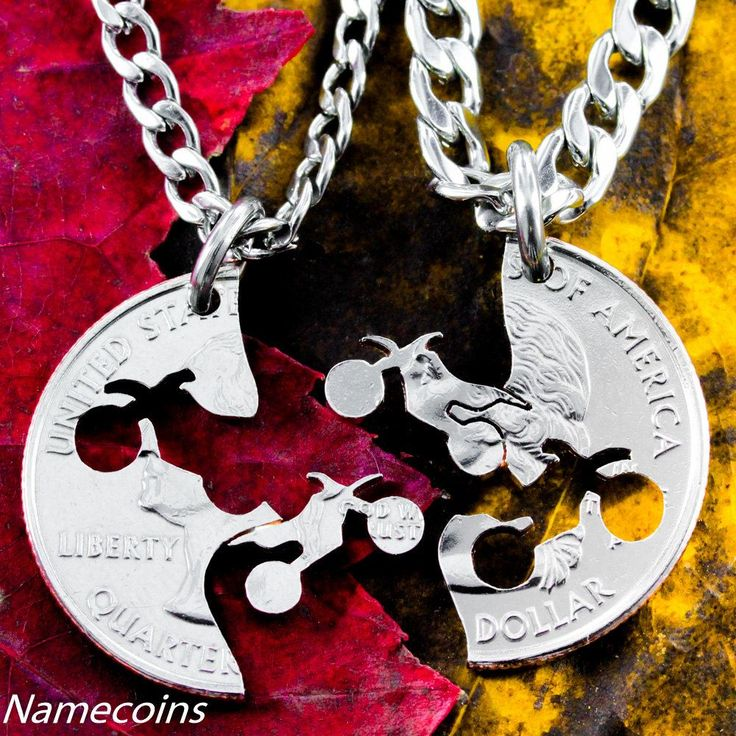 Custom Made Dirt Bike Necklace, Motocross Couples, Guys Jewelry Hand Cut Coin