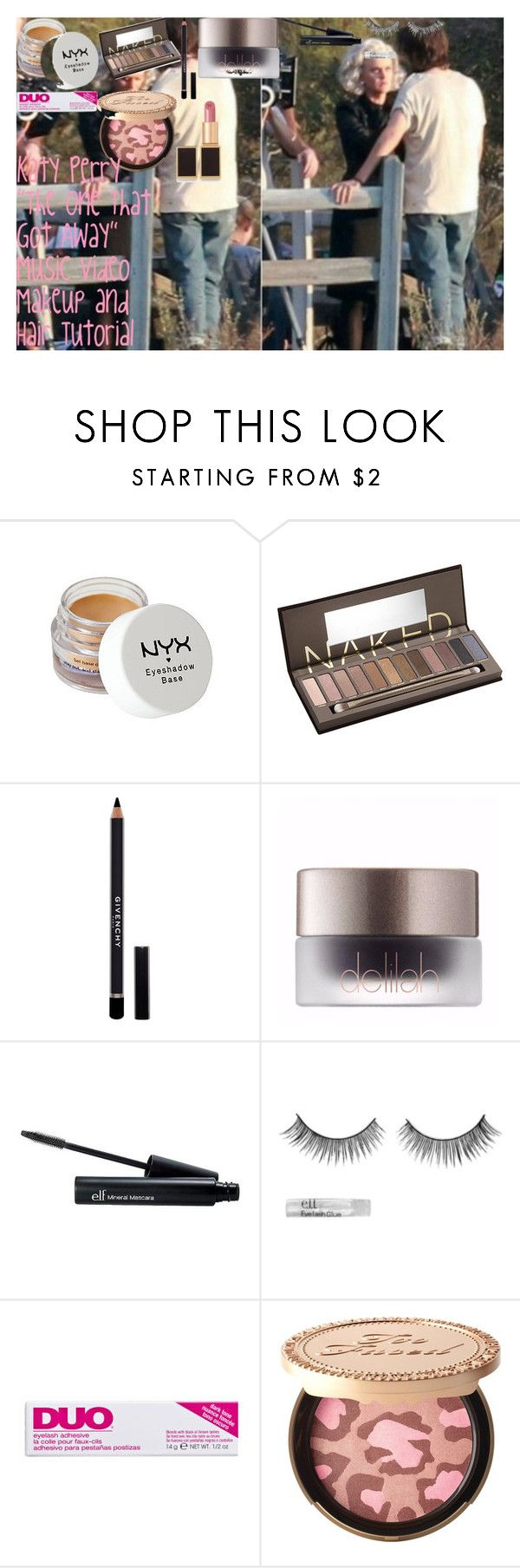 """Katy Perry ""The One That Got Away"" Music Video Makeup and Hair Tutorial"" by oroartye-1 on Polyvore featuring beauty, Peek, NYX, Urban Decay, Givenchy, e.l.f., DUO, Too Faced Cosmetics and Tom Ford"