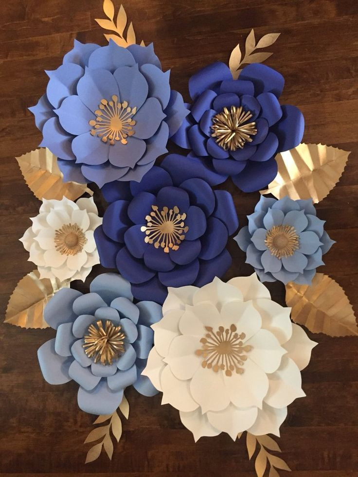 7pc Blue White And Gold Paper Flower Backdrop Etsy