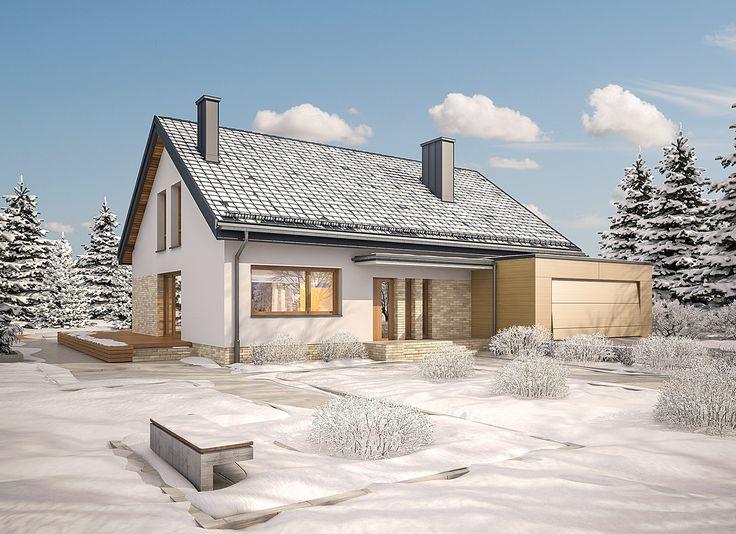 """""""Magiczny świat"""" Murator M189 - w zimowej szacie:) Niewielki, przytulny dom dla osób ceniących sobie relaks na świeżym powietrzu."""