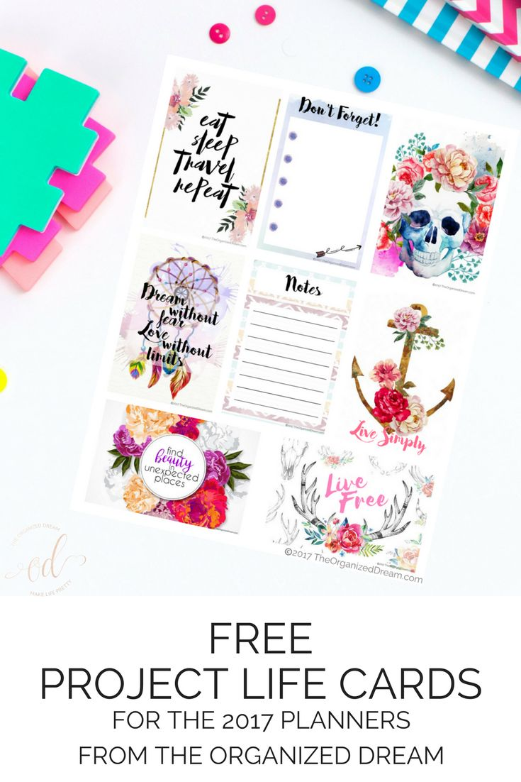 The Organized Dream: Free Project Life Cards