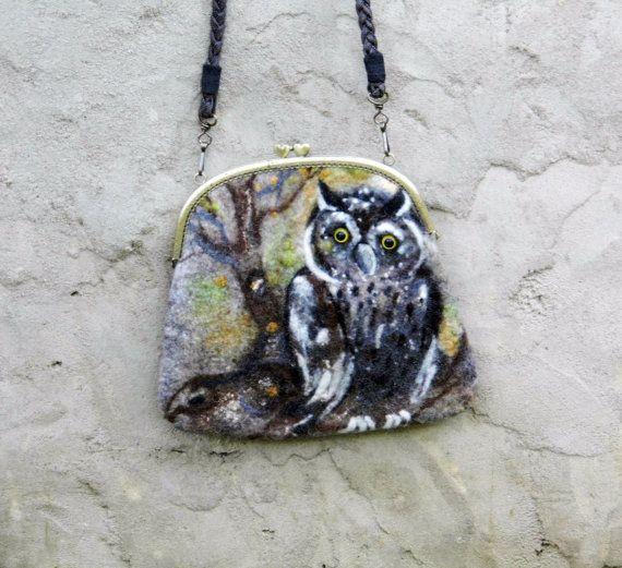 Nuno Vilten Coin Purse OWL met zak frame van metalen sluiting, etui, Clutch, handgemaakte, OOAK, Nat Vilten klaar voor verzending