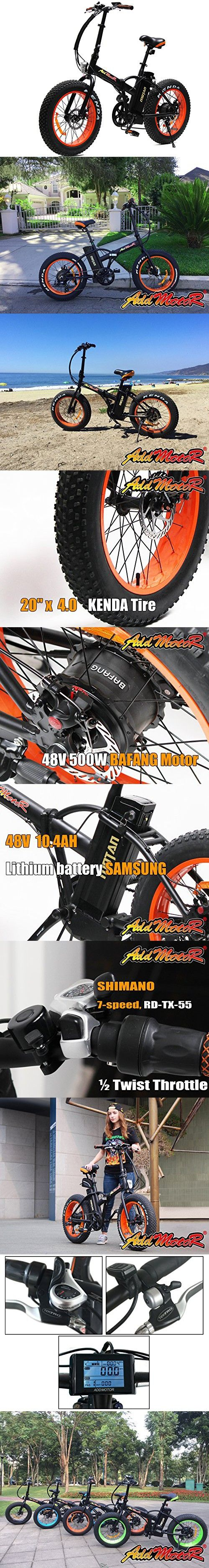 Addmotor MOTAN M-150 Folding Electric Bicycle 500W 48V Bafang Motor 10.4AH Samsung Lithium Battery Electric Bike For Sale With Shimano 7 Speeds Fat Tire (Orange)