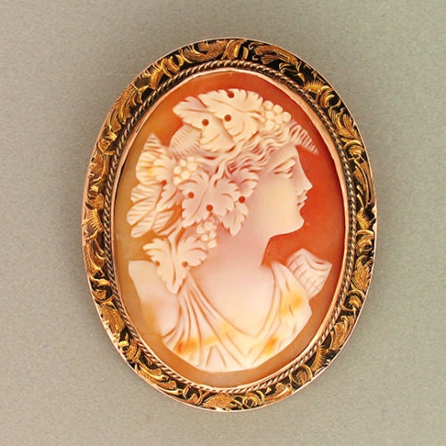 Antique Hand Carved Shell Cameo Pendant/Brooch Of A Woman With Grapes And Grape Leaves In Her Hair, Mounted In A 12k Pink Gold Twisted Wire And Engraved FrameEngraving Frames, Cameo Pendants Brooches, 12K Pink, Cameo Art, Antiques Hands, Cameo Mount, Gold, Cameo Appearances, Carvings Shells