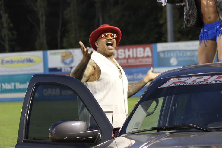 Wrestling superstar, The Godfather, enters the field at Dutchess Stadium for Wrestling Under the Stars II.