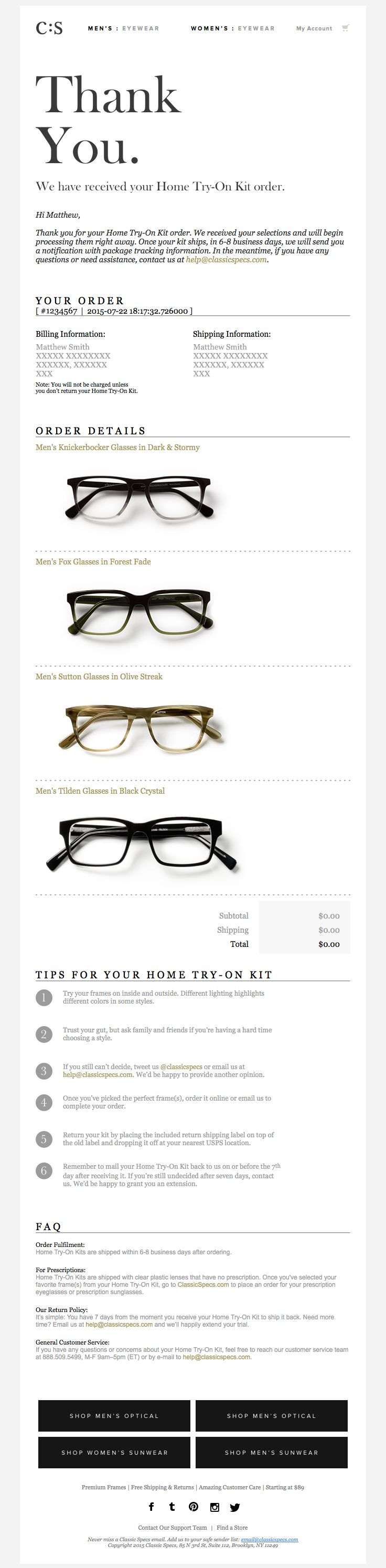 @classicspecs  sent this email with the subject line: Your Home Try-On Kit Order…