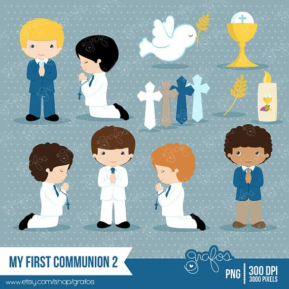 MY FIRST COMMUNION 2 clipart set : 35 Graphics •PNG with Transparent Background Images are high quality 300 DPI , 3000 pixels 10 to 12 inches.    GIRLS: