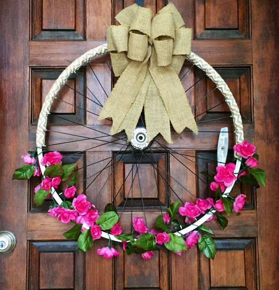 Pink floral bicycle wheel wreath  floral by TexasRusticWoodDecor