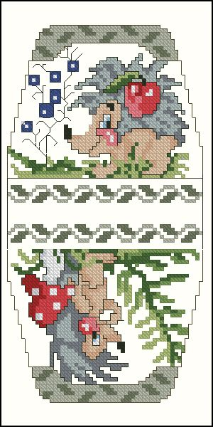 Cross-stitch Cute Hedgehog purse pattern... no color chart available, just use pattern chart as your color guide.. or choose your own colors..