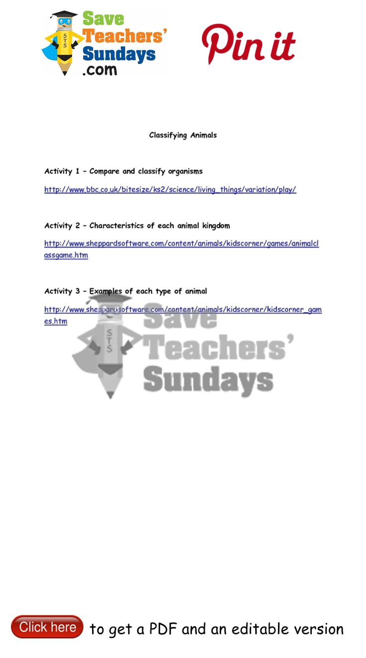 Classifying living things worksheet answers