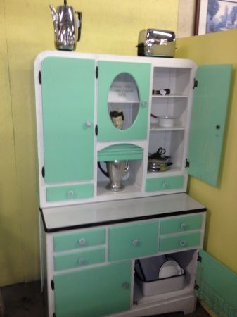 Vintage Kitchen Hoosier Cabinet Larder Unit In White Aqua With Cupboards Drawers