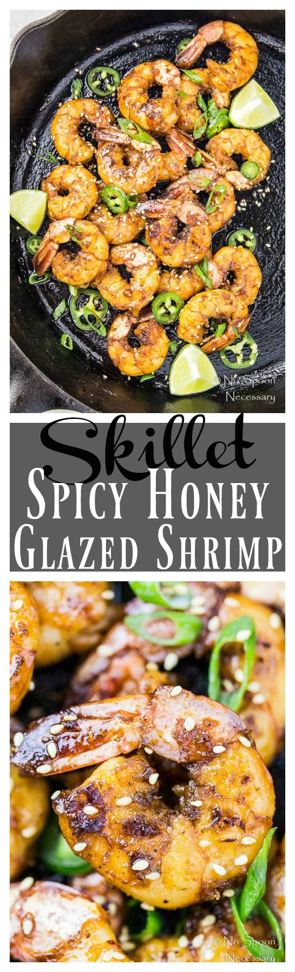 Spicy Honey Glazed Skillet Shrimp. One skillet, 8 ingredients, and ready, from prep to finish, in just 16 minutes!