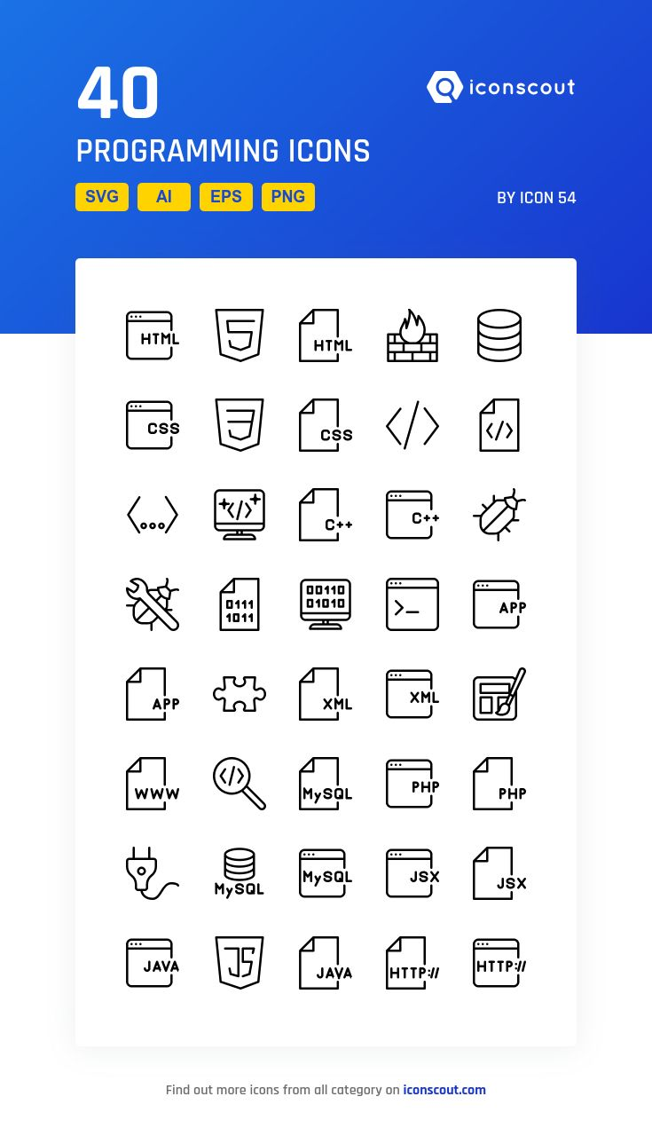 Programming   Icon Pack - 40 Line Icons