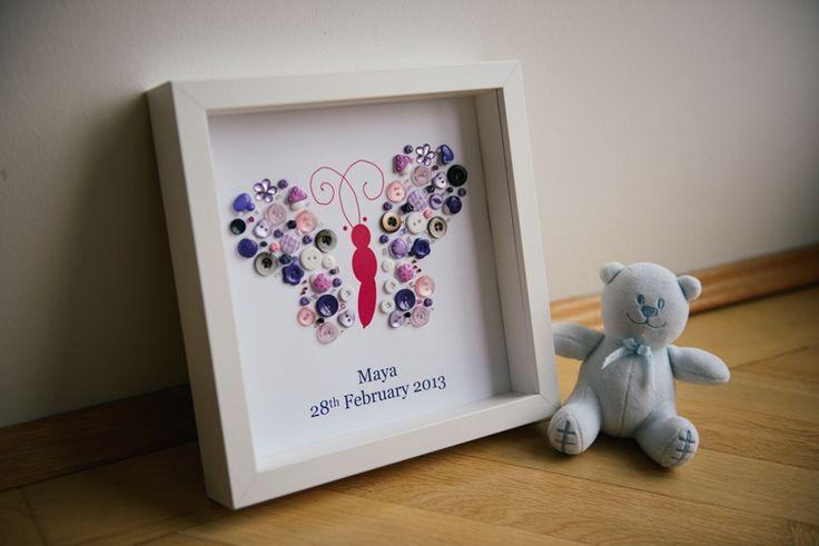 Geburtsbild Schmetterling - Geschenk zur Taufe von Button Moments by jujo auf DaWanda.com