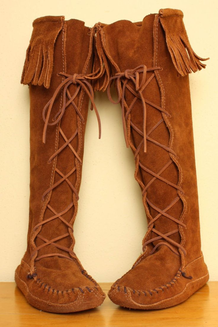 Minnetonka suede leather knee high tall lace up moccasin fringe boots - Tall Minnetonka Fringe Moccasin Boots In Brown By Pineapplemint