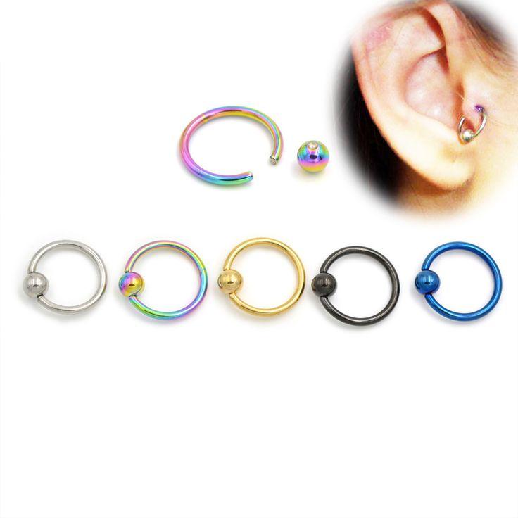 2pcs 16G Gold Black Titanium Captive Bead Hoop Ring Navel Tragus Helix Rings Lip Labret Nose BCR Body Piercing Jewelry