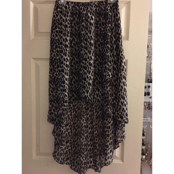 Short in the front long in the back cheetah skirt silky sheer cheetah skirt Forever 21 Skirts Maxi