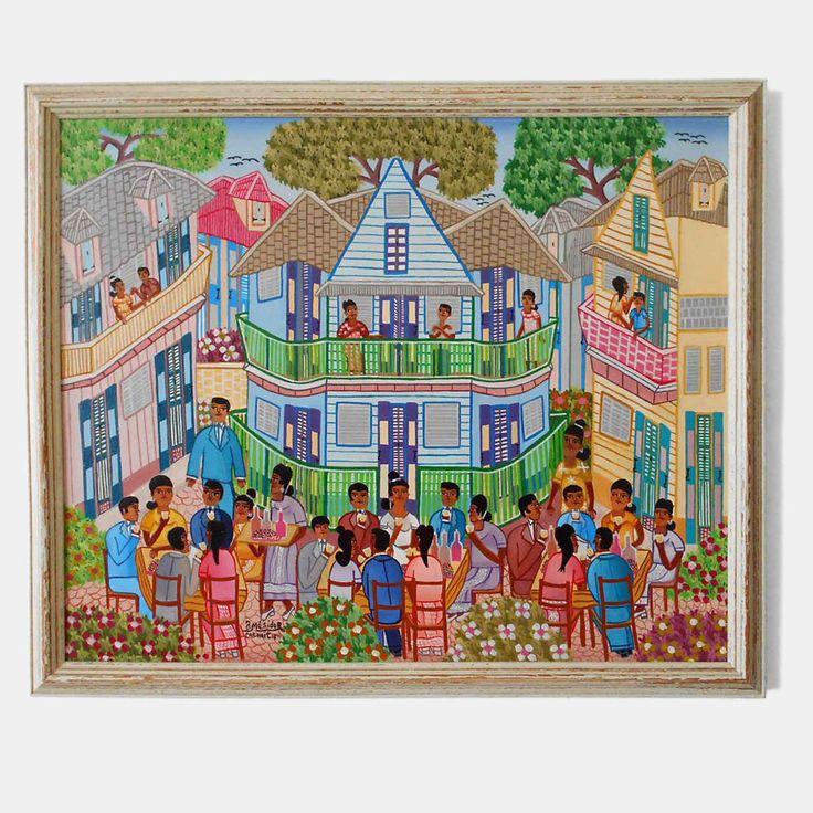 Original Signed JACKSIN MESIDOR Painting Cap Haitien Wedding Party 1980s Haiti #FolkArt