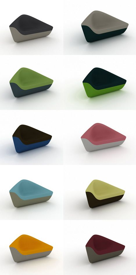 """Seating Stones   by UNStudio - [They are made of Polyurethane foam on a steel frame and can be upholstered in a variety of colour combinations that are meant to reference a collection of precious stones.... """"The Seating Stones are designed to generate numerous different atmospheres, which is why we included a wide variety of possible configurations and colours but also a selection of materials,""""]"""