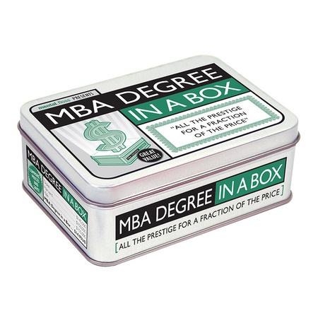 Give your favorite graduate the gift of humor with an MBA Degree in a Box.  Product: MBA Degree in a boxConstruction Mate...