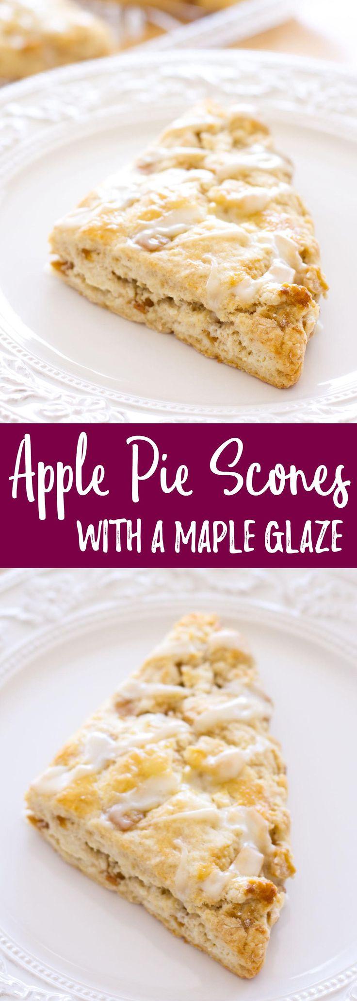 apple pie scones with maple glaze