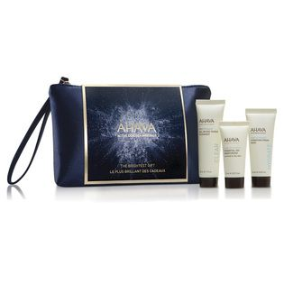 AHAVA The Brightest Gift Collection - $25.00. Three best-selling face products at great value - leaving skin soft, smooth and hydrated. Formulated with Dead Sea minerals, these products are the perfect daily face regimen to naturally hydrate skin. Presented in a very cute AHAVA make-up purse.